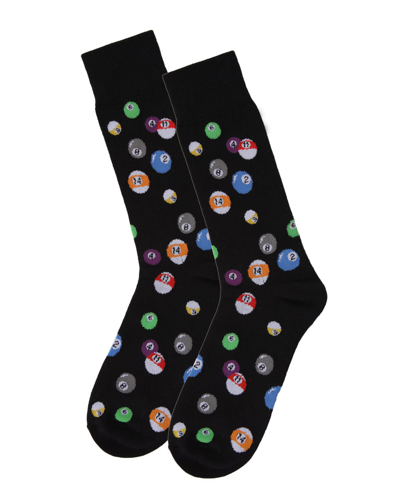 Men's Bamboo Blend Billiard Ball Crew Socks 2-Pac | mens clothing by MeMoi | fun mens novilty socks | 182118-00001-10 13 -6