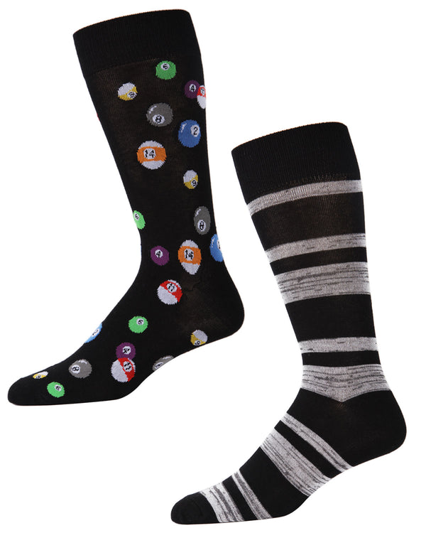 Men's Bamboo Blend Billiard Ball Crew Socks 2-Pac | mens clothing by MeMoi | fun mens novilty socks | 182118-00001-10 13