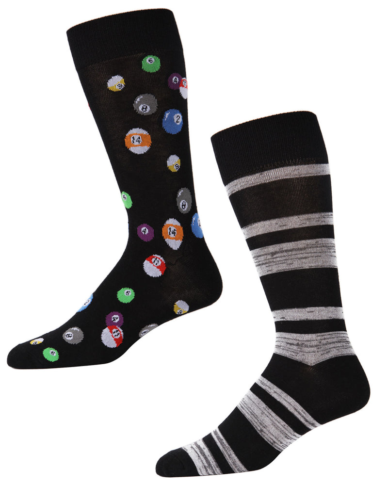 Men's Bamboo Blend Billiard Ball Crew Socks 2-Pac | mens clothing by MeMoi | fun mens novelty socks | 182118-00001-10 13
