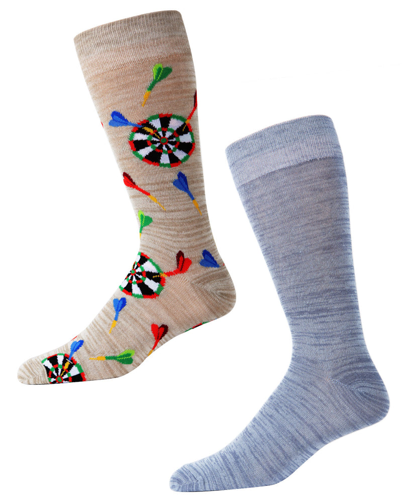 Men's Bamboo Blend Darts Crew Socks 2-Pack | mens clothing by MeMoi | fun mens novilty socks | 182119-25402-10 13