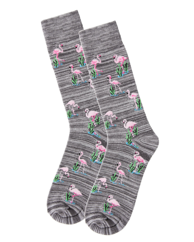 Men's Bamboo Blend Flamingo Crew Socks 2-Pack | mens clothing by MeMoi | fun mens novilty socks | 182120-02004-10 13 -6
