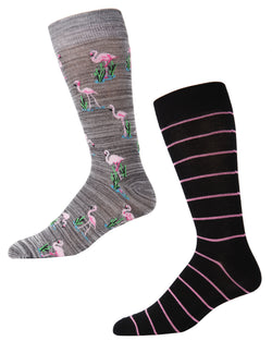 Men's Bamboo Blend Flamingo Crew Socks 2-Pack | mens clothing by MeMoi | fun mens novelty socks | 182120-02004-10 13