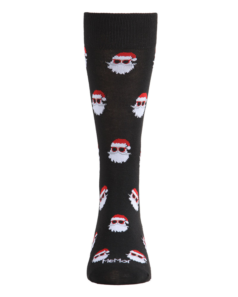 Santa Shades Men's Crew Socks | Men's Novelty Socks by MeMoi | Mens Clothing | ACV05796 Black -2