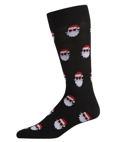 Santa Shades Men's Crew Socks | Men's Novelty Socks by MeMoi | Mens Clothing | ACV05796 Black -1