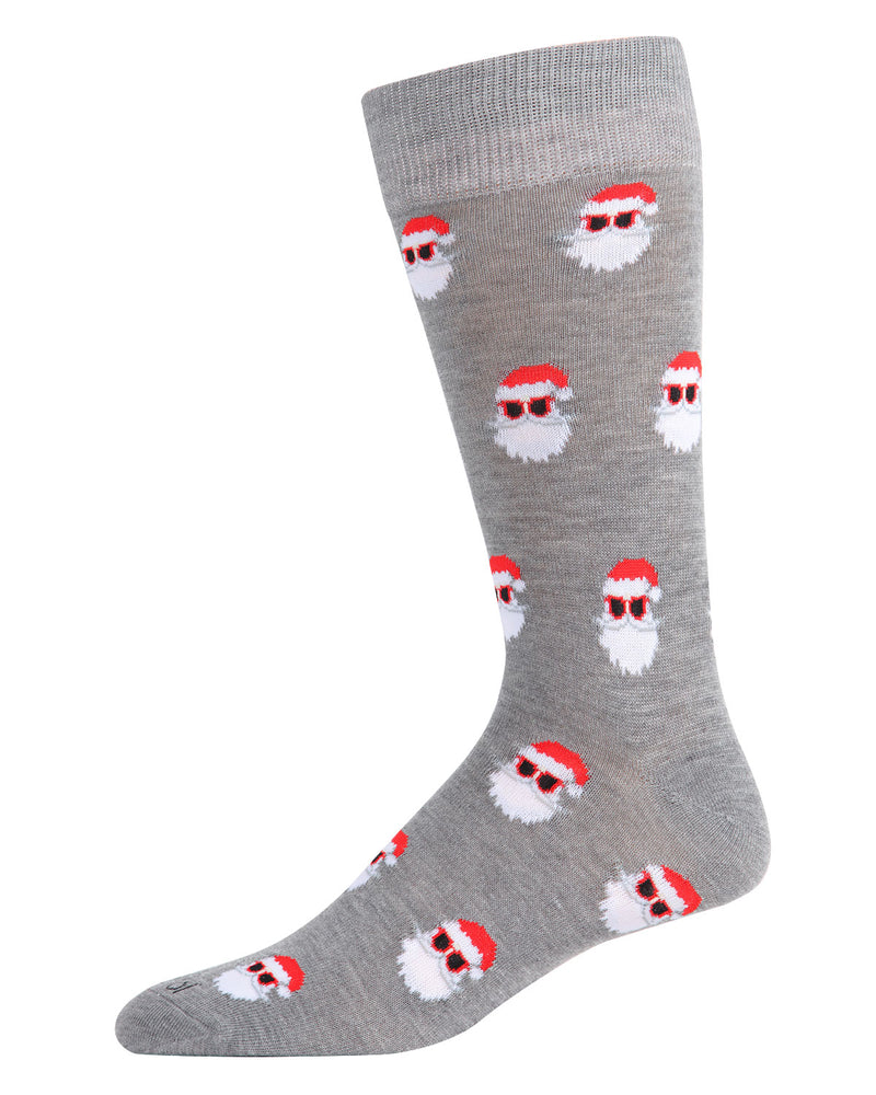 Santa Shades Men's Crew Socks | Men's Novelty Socks by MeMoi | Mens Clothing | ACV05796 Medium Grey Heather -1