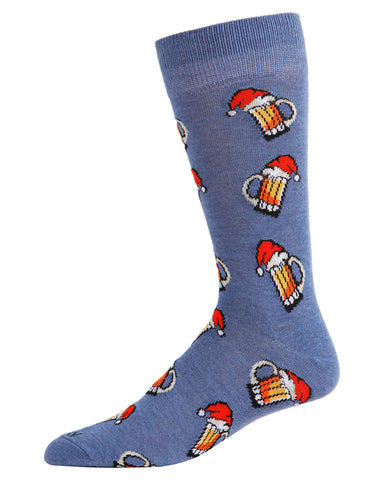 Santa Beer Mugs Men's Crew Socks | Men's Novelty Socks by MeMoi | Mens Clothing | ACV05797 Denim Heather -1