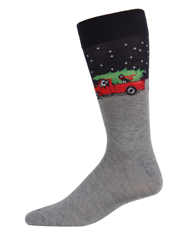 Holiday Pup Pickup Men's Crew Socks | Men's Novelty Socks by MeMoi | Mens Clothing | ACV05798 Medium Grey Heather -1