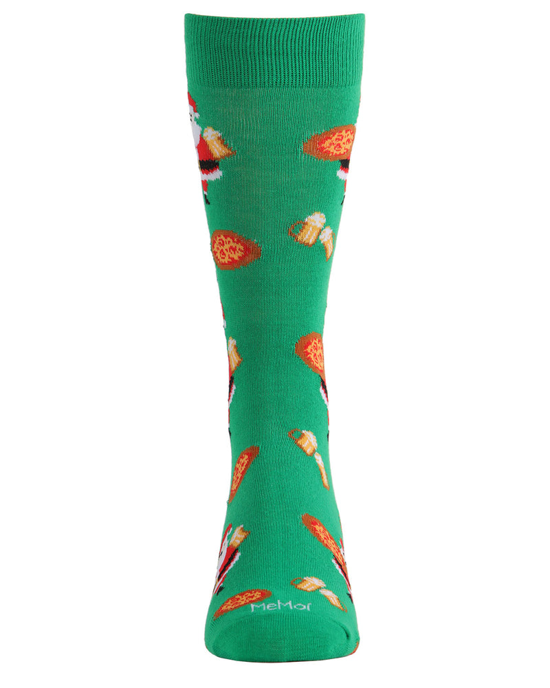 Santa w/ Pizza & Beer Men's Crew Socks | Men's Novelty Socks by MeMoi | Mens Clothing | ACV05799 Green - 2