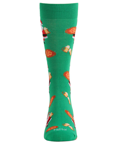 Santa w/ Pizza & Beer Men's Crew Socks | Men's Novelty Socks by MeMoi | Mens Clothing | ACV05799 Green - 1