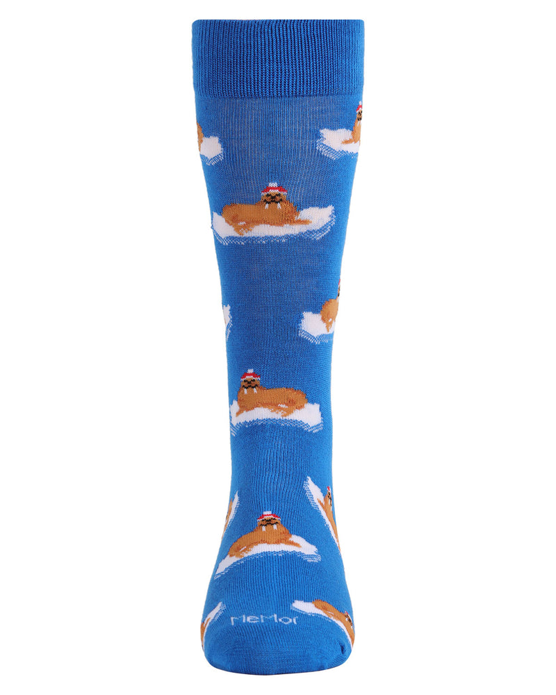 Christmas Walrus Men's Crew Socks | Men's Novelty Socks by MeMoi | Mens Clothing | ACV05800 Blue - 2