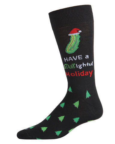 Dill-ightful Men's Crew Socks | Men's Novelty Socks by MeMoi | Mens Clothing | ACV05801 Black - 1