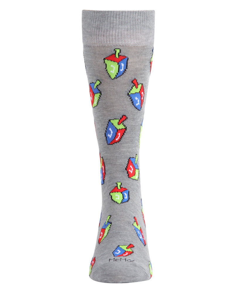 Dreidel Men's Crew Socks | mens novelty socks by MeMoi | mens clothing | ACV05803-03003-10 13 medium gray -2