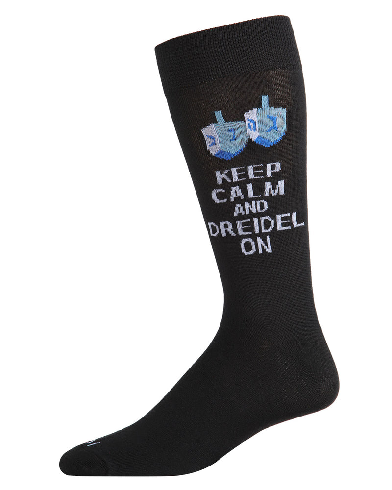 Keep Calm Dreidel On Men's Crew Socks | mens novelty socks by MeMoi | mens clothing | ACV05804-40120-10 13 Black -1