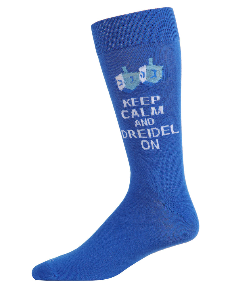 Keep Calm Dreidel On Men's Crew Socks | mens novelty socks by MeMoi | mens clothing | ACV05804-40000-10 13 Blue -1