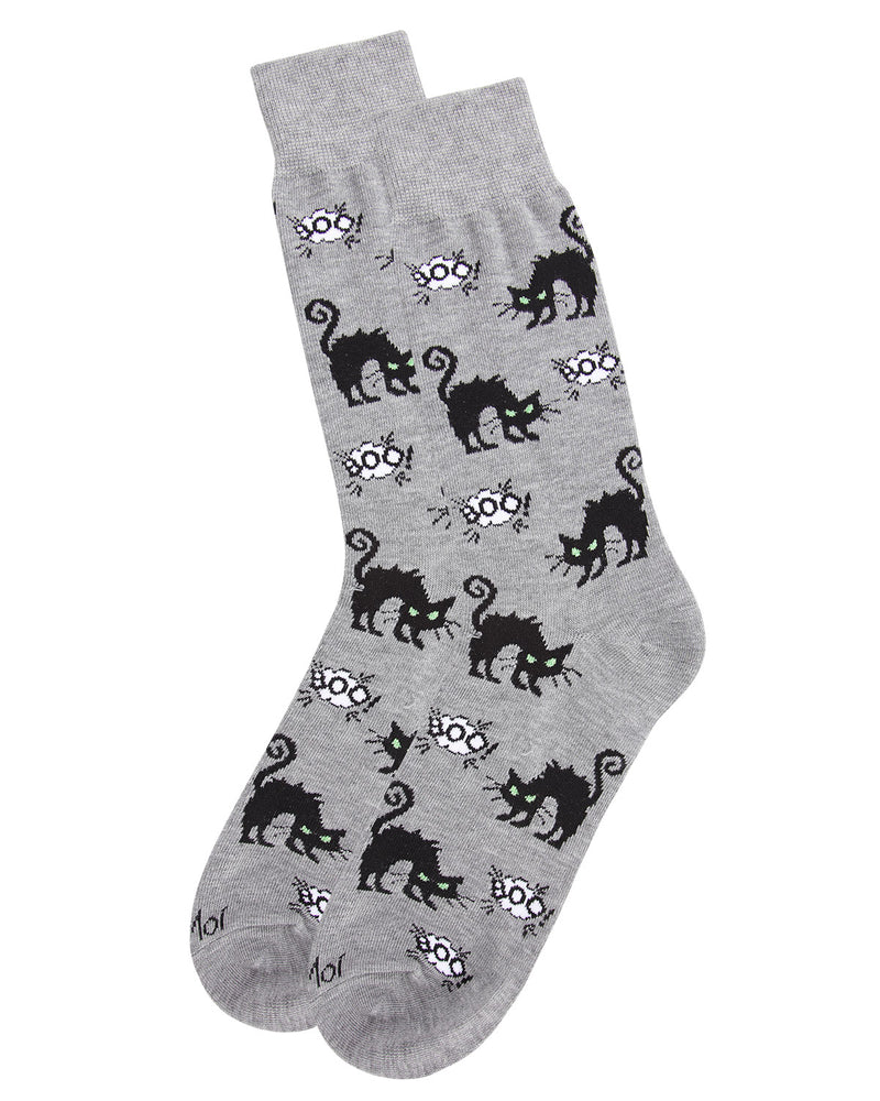 Scary Cat Men's Crew Socks | Fun & Spooky Halloween Socks for Men | Men's Novelty Socks | Medium Gray Heather ACV05806 - 3