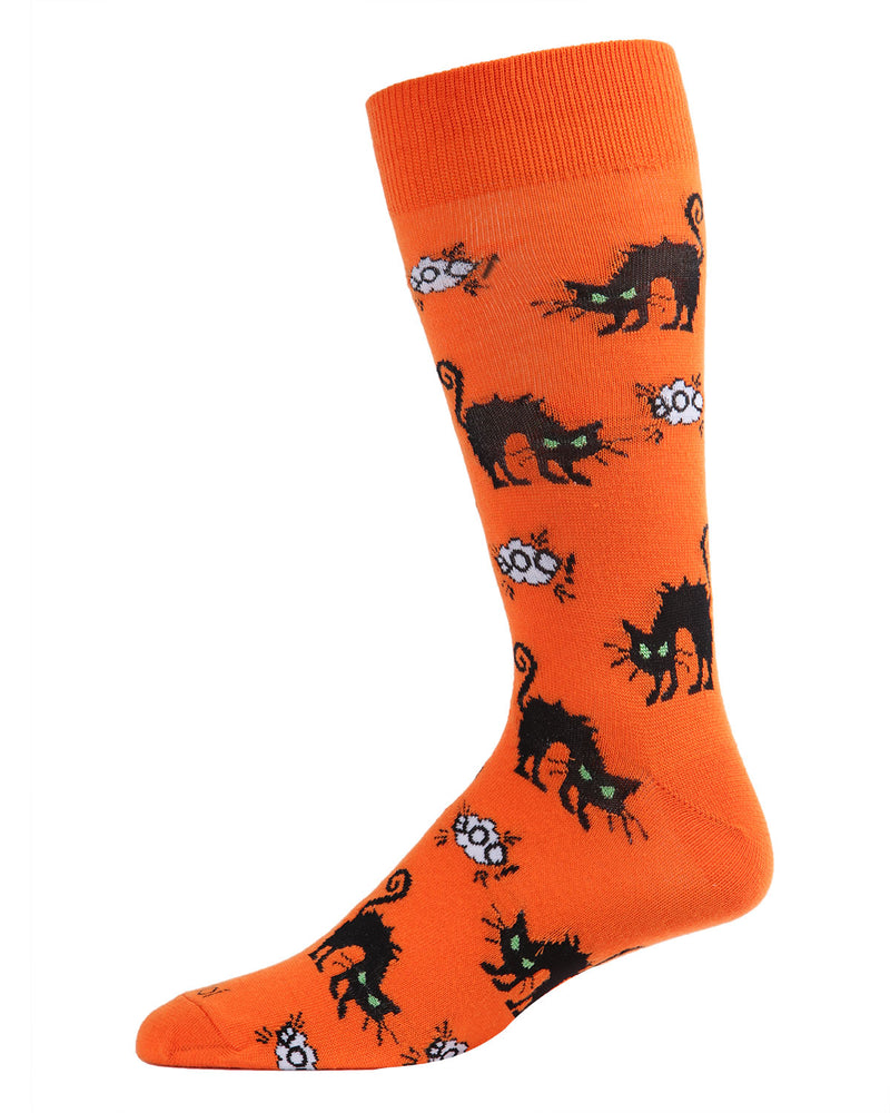 Scary Cat Men's Crew Socks | Fun & Spooky Halloween Socks for Men | Men's Novelty Socks | Orange ACV05806