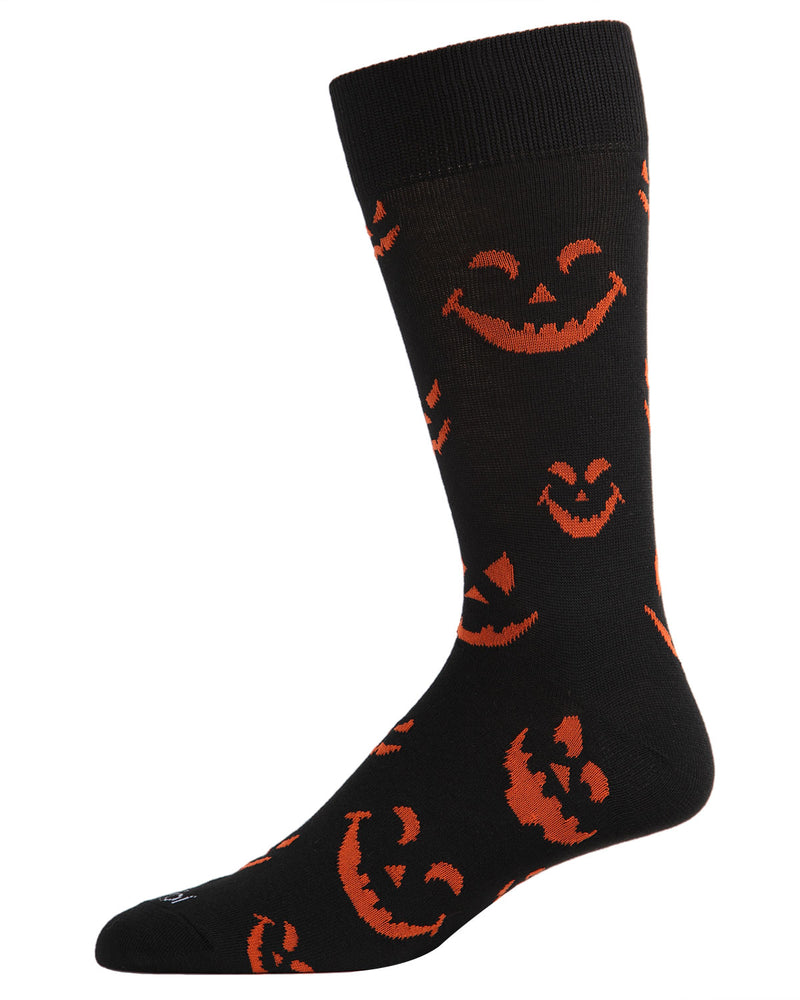 Pumpkin Faces Men's Crew Socks | Fun & Spooky Halloween Socks for Men | Men's Novelty Socks | Black ACV05807 - 1