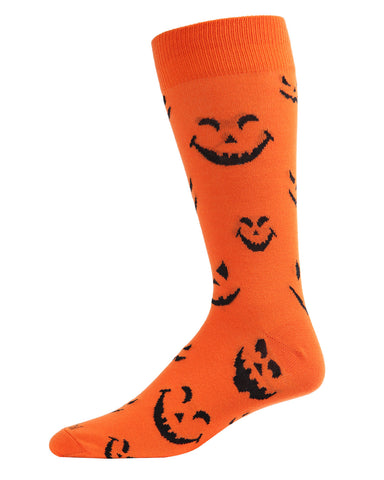 Pumpkin Faces Men's Crew Socks | Fun & Spooky Halloween Socks for Men | Men's Novelty Socks | Orange ACV05807 - 1
