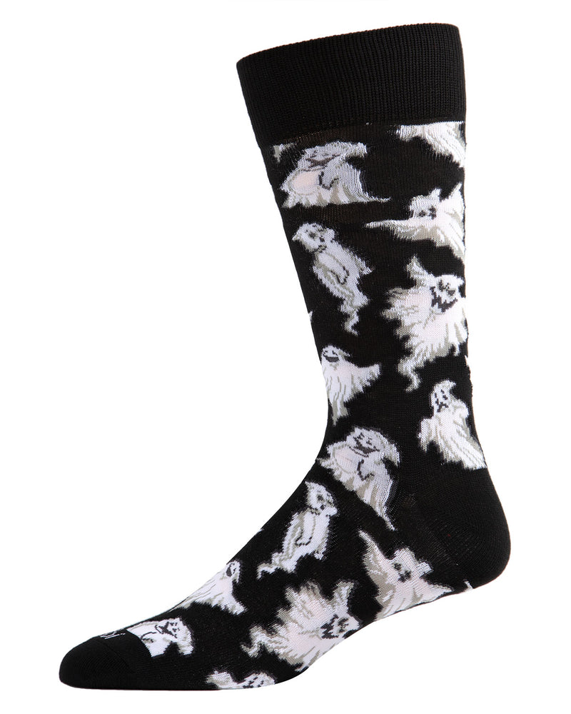 Ghost Men's Crew Socks | Fun & Spooky Halloween Socks for Men | Men's Novelty Socks | Casper Ghost | Black ACV05808 - 1