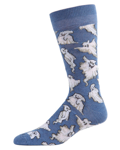 Ghost Men's Crew Socks | Fun & Spooky Halloween Socks for Men | Men's Novelty Socks | Casper Ghost | Denim Heather ACV05808
