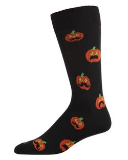Mustache Pumpkin Men's Crew Socks | Fun & Spooky Halloween Socks for Men | Men's Novelty Socks | Movember | Black ACV05809