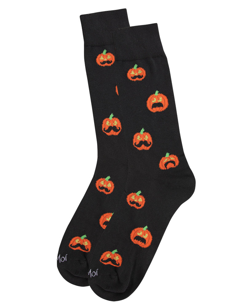 Mustache Pumpkin Men's Crew Socks | Fun & Spooky Halloween Socks for Men | Men's Novelty Socks | Movember | Black ACV05809 -3