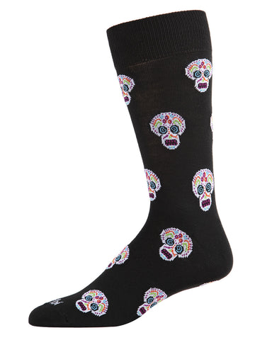 MeMoi Sugar Skull Crew Socks | Fun Cute Crazy Halloween, Mardi Gras / Fat Tuesday or Día de Muertos (Day of the Dead Festival) Novelty Socks | Men's Black ACV05810