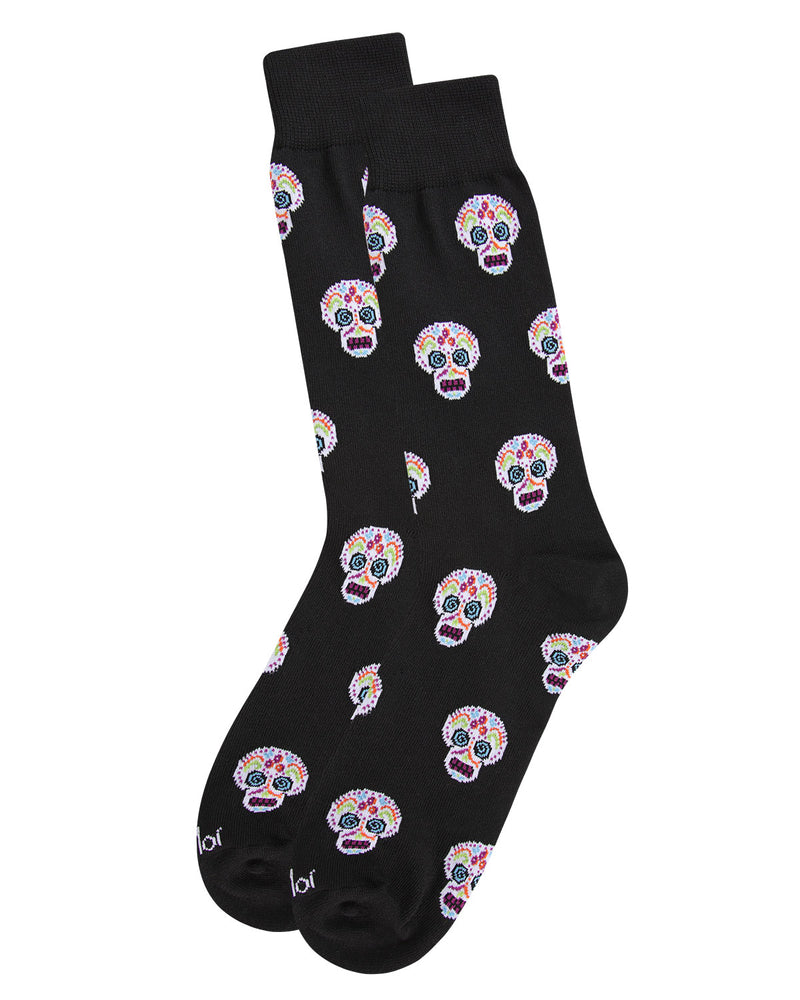 MeMoi Sugar Skull Crew Socks | Fun Cute Crazy Halloween, Mardi Gras / Fat Tuesday or Día de Muertos (Day of the Dead Festival) Novelty Socks | Men's Black ACV05810 - 3