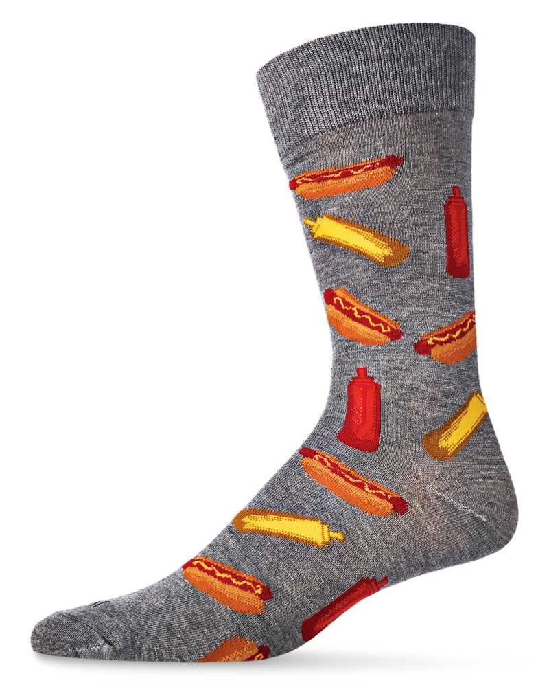 Hot Dogs Bamboo Blend Men`s Crew Socks