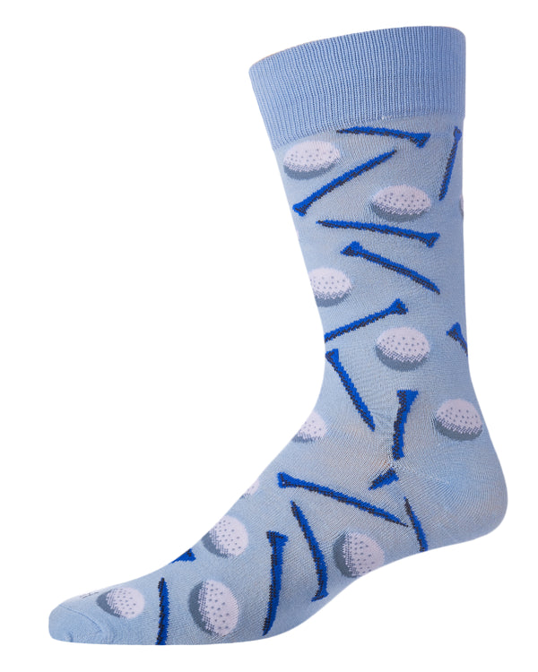Golf Bamboo Crew Novelty Socks | Men's Fun Novelty Golfing Socks by MeMoi® | Light Blue ACV06067