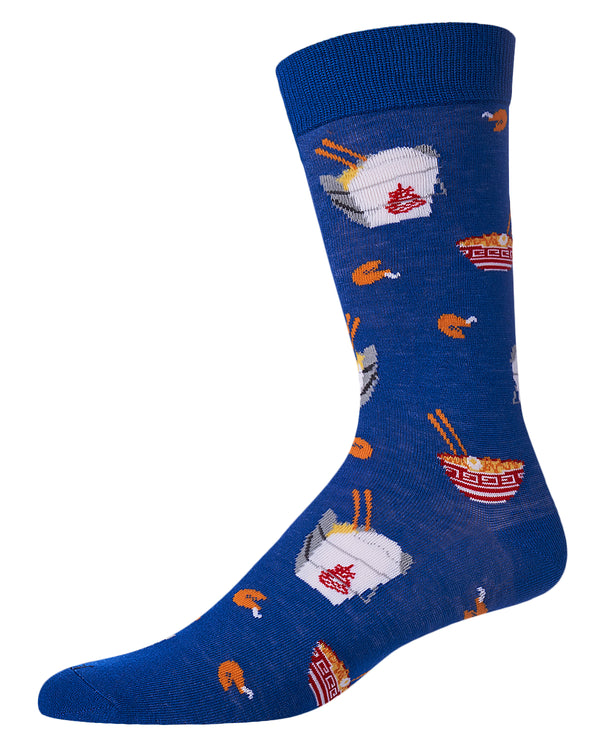 Chinese Takeout Bamboo Crew Novelty Socks | Men's Fun Novelty Socks by MeMoi® | Royal Blue ACV06175