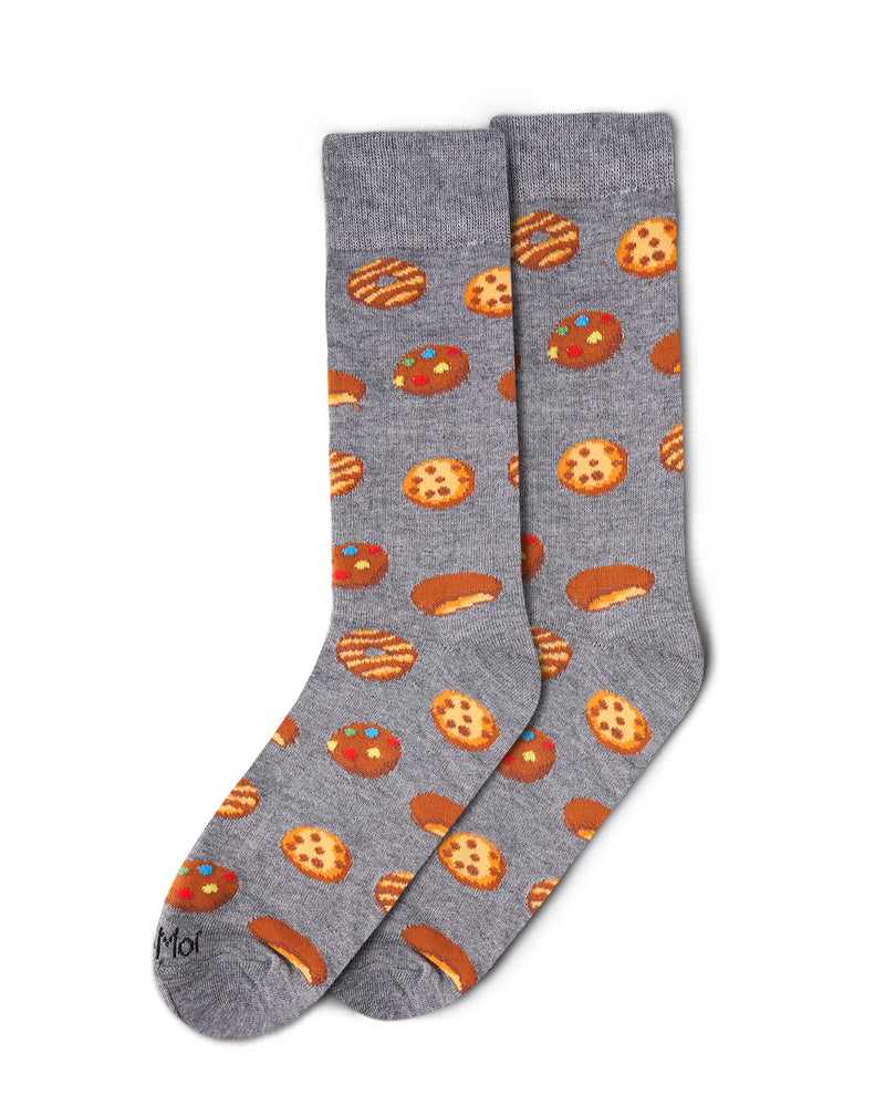 Cookies Bamboo Crew Novelty Socks | Men's Fun Novelty Socks by MeMoi® | Medium Gray ACV06177 -3