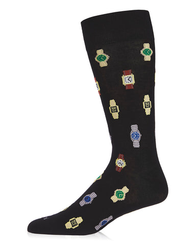 Time to Get a Watch Bamboo Men's Novelty Crew Socks | Men's Novelty Socks by MeMoi® | Black ACV06459