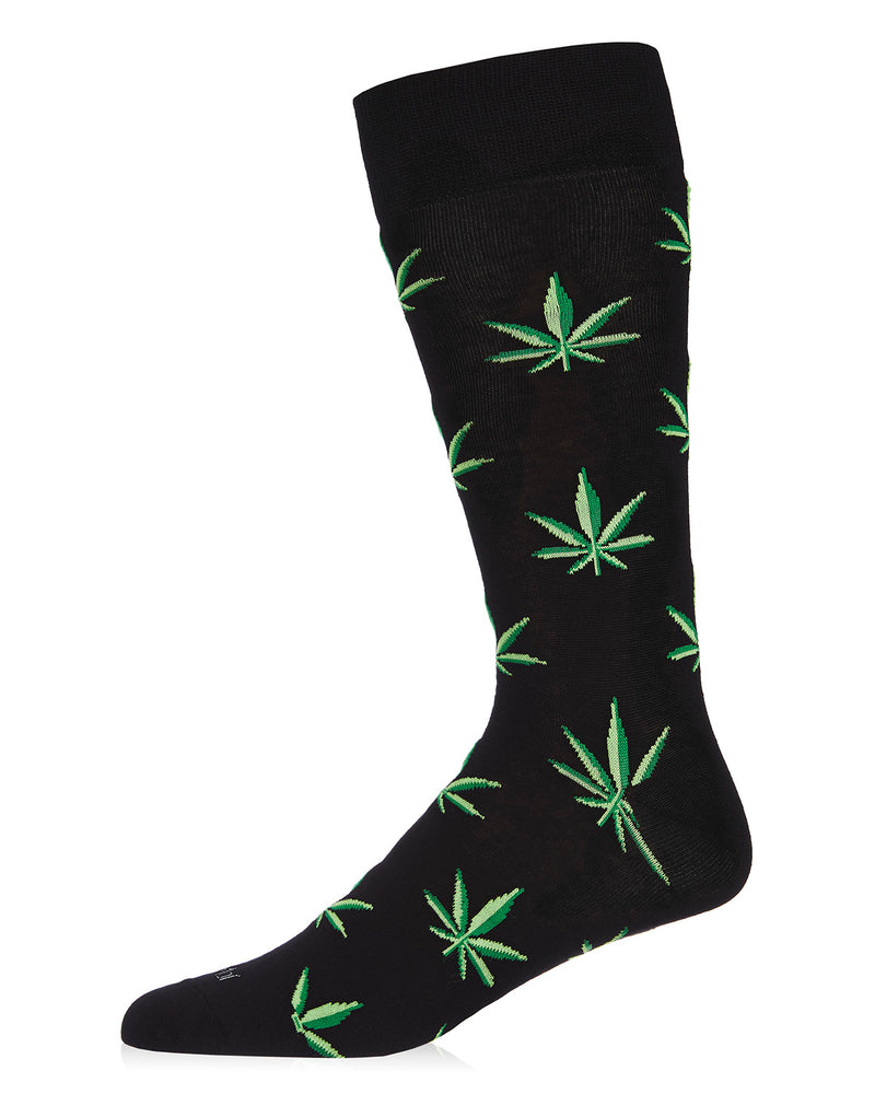 Men's Bamboo Crew Socks | 420 Clothes Socks | Cannabis marijuana weed herb pot grass bud ganja Mary Jane | Black ACV06460