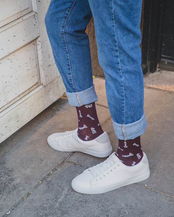 Men's Checkmate Bamboo Crew Socks | Socks for chess lovers | King Queen Rook Bishop Knight Pawn | Burgundy ACV06461 | Lifestyle