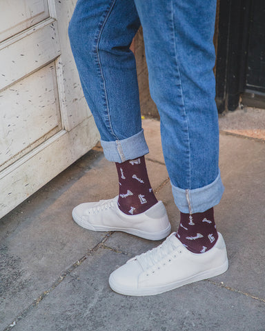 Men's Checkmate Bamboo Crew Socks | Socks for chess lovers | King Queen Rook Bishop Knight Pawn | Burgundy ACV06461