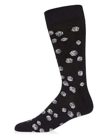 Roll of the Dice Bamboo Men's Novelty Crew Socks | Men's Novelty Socks by MeMoi® | Black ACV06462