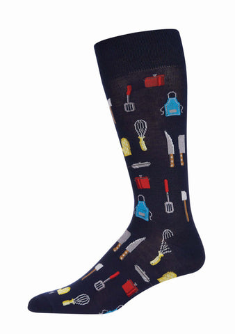 Kitchen Bamboo Men's Novelty Crew Socks | Men's Novelty Socks by MeMoi® | Navy ACV06463