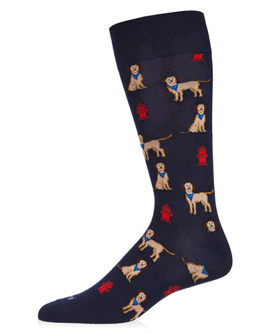 Fire Dog Bamboo Men's Novelty Crew Socks | Men's Novelty Socks by MeMoi® | Navy ACV06465