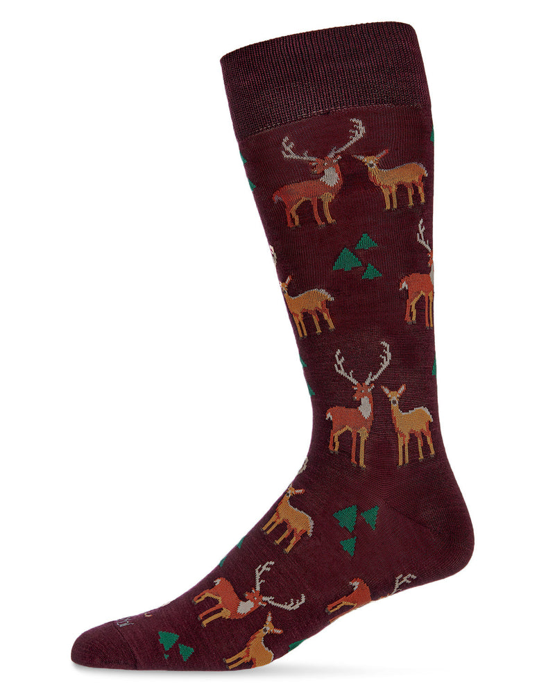 Oh Deer Bamboo Men's Novelty Crew Socks | Men's Novelty Socks by MeMoi® | Burgundy ACV06468