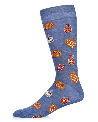 Breakfast of Champions Bamboo Men's Novelty Crew Socks | Men's Novelty Socks by MeMoi® | Denim Heather ACV06469