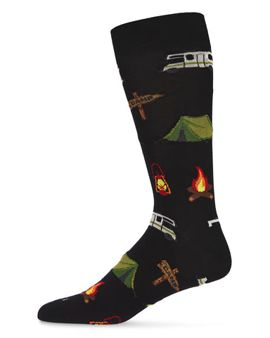 Happy Camper Bamboo Men's Novelty Crew Socks | Men's Novelty Socks by MeMoi® | Black ACV06470