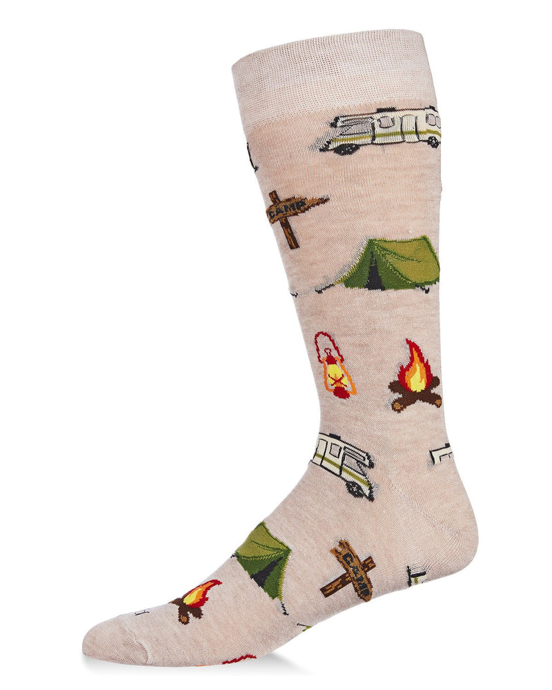 Happy Camper Bamboo Men's Novelty Crew Socks | Men's Novelty Socks by MeMoi® | Crockery ACV0647
