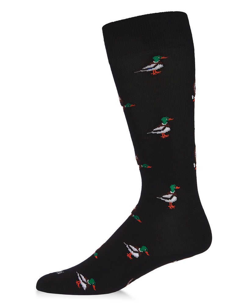 Mallard Most Fowl Bamboo Men's Novelty Crew Socks | Men's Novelty Socks by MeMoi® | Black ACV06471