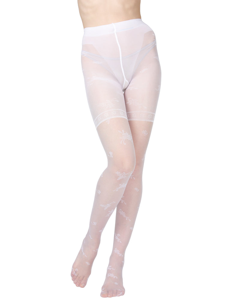 Ambition Sheer Control Top Flower Pantyhose | MeMoi Womens Tights Collection | Womens Lingerie/Bridal | womens clothes |  Bianco ETS05234