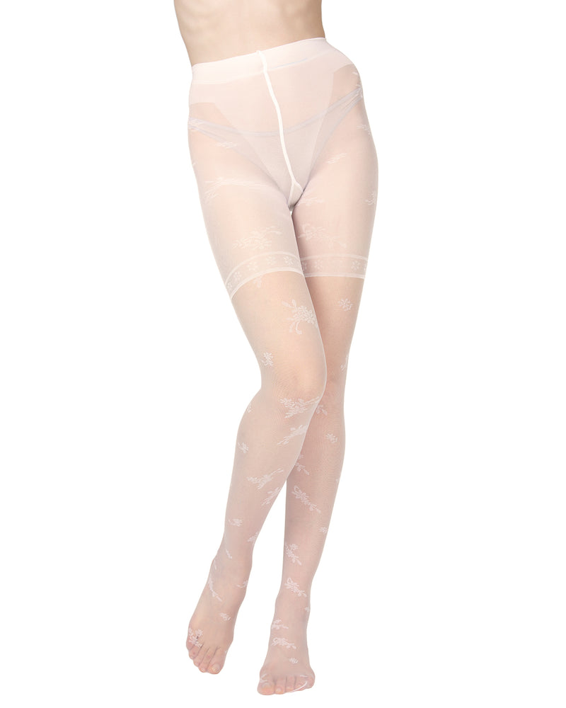 Ambition Sheer Control Top Flower Pantyhose | MeMoi Womens Tights Collection | Womens Lingerie/Bridal | womens clothes |  Panna ETS05234