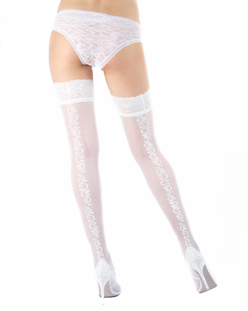 Ardor Sheer Baroque Thigh High Stockings | MeMoi Womens Tights Collection | Womens Lingerie/Bridal |  Bianco EXS05264 -2