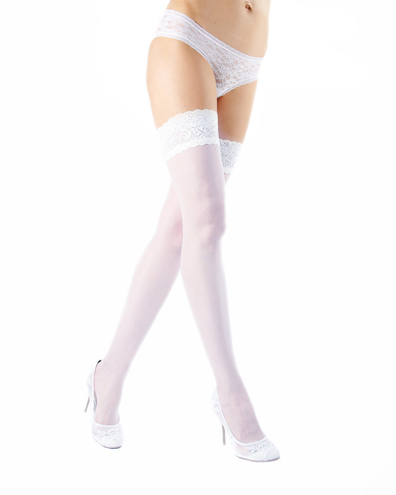 Ardor Sheer Baroque Thigh High Stockings | MeMoi Womens Tights Collection | Womens Lingerie/Bridal |  Bianco EXS05264