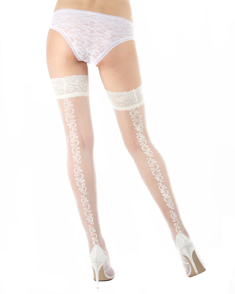 Ardor Sheer Baroque Thigh High Stockings | MeMoi Womens Tights Collection | Womens Lingerie/Bridal |  Panna EXS05264 -4