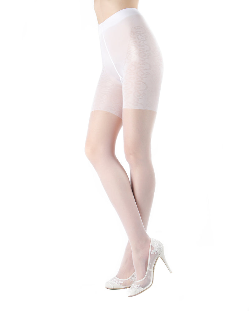 Ardor Sheer Baroque Backseam Pantyhose | MeMoi Womens Tights Collection | Womens Lingerie/Bridal | Bianco ETS05263